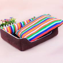 1PC Square Cloth Dog Bed With Removable Mats Colorful Stripe Cotton Cat Sofa Hand Wash Large Size 60*50*15cm Pet Supplies