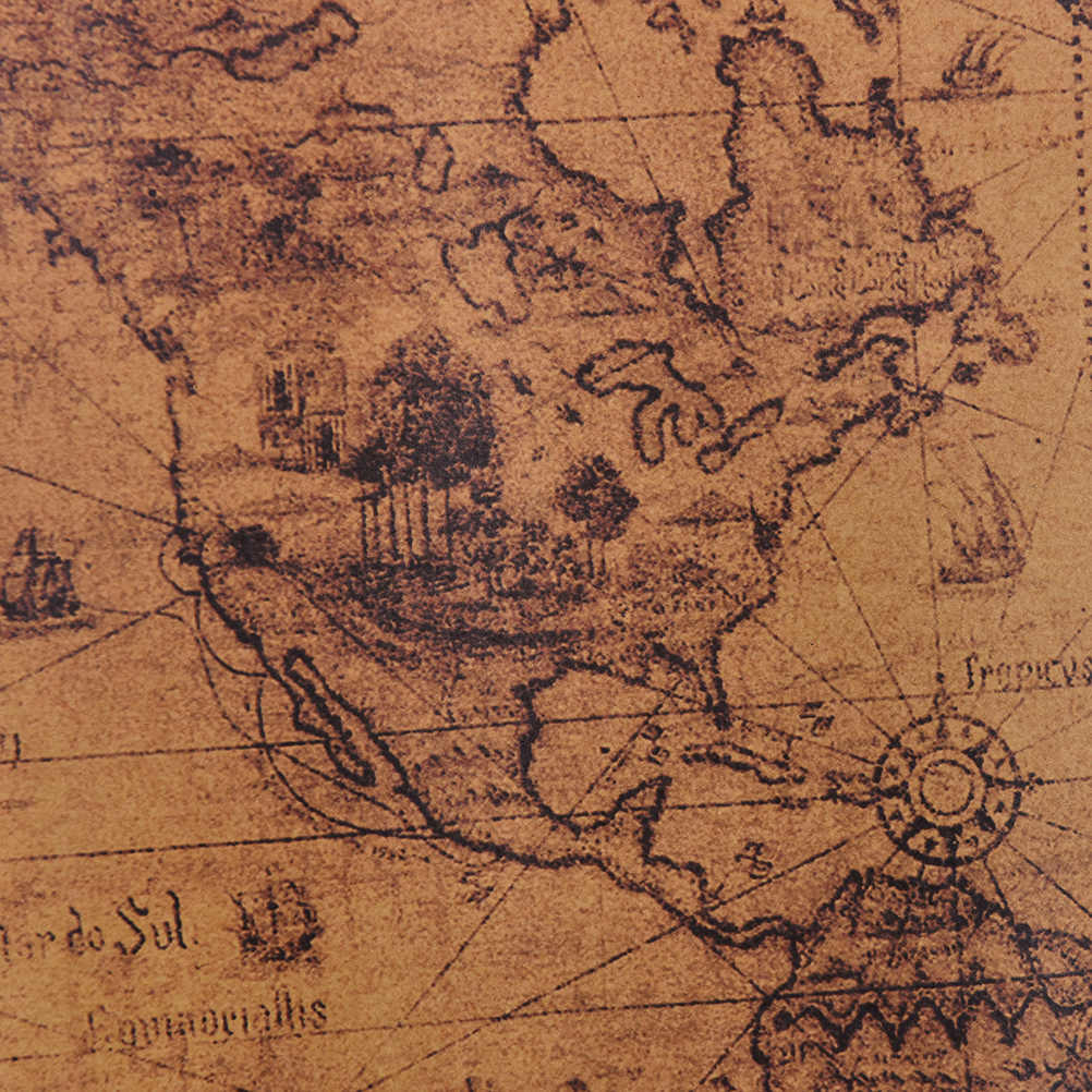 ZLinKJ 72,5x51,5 cm mapa del mundo pósters de papel Retro estilo Vintage en pegatinas de pared decoración para el hogar palabra arte mapa papel tapiz