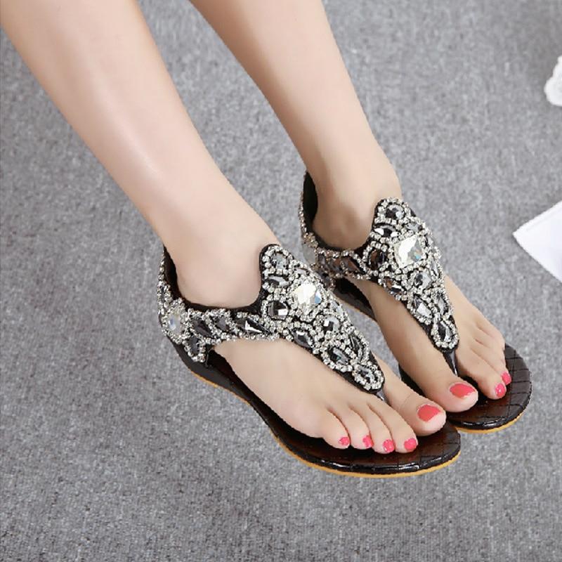 ФОТО Summer sandalias mujer Women Sandals Bohemia Shoes Beach Sandalias Femininas Casual Thong Flats sapato feminino flip flops