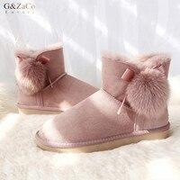 G & Zaco/Роскошные короткие ботинки из овечьей кожи; зимние ботинки на овечьем меху; натуральная шерсть; милые зимние женские ботинки на плоско