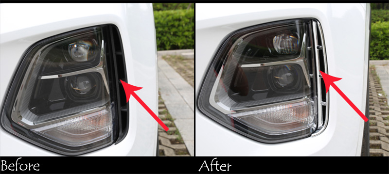 Image 2 - Car headlights air intake trim chrome style exterior accessories for Hyundai Santa Fe Santafe IX45 4TH 2019 2020-in Chromium Styling from Automobiles & Motorcycles