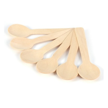 Disposable Wooden Spoon Mini Ice Cream Spoon Wood Western Dessert Scoop Wedding Party Tableware Kitchen Accessories W8337
