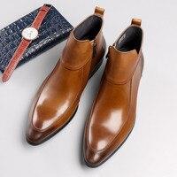 Мужские ботинки из натуральной кожи в британском стиле, универсальные, черные, коричневые, простые ботинки челси с острым носком, мужские бо