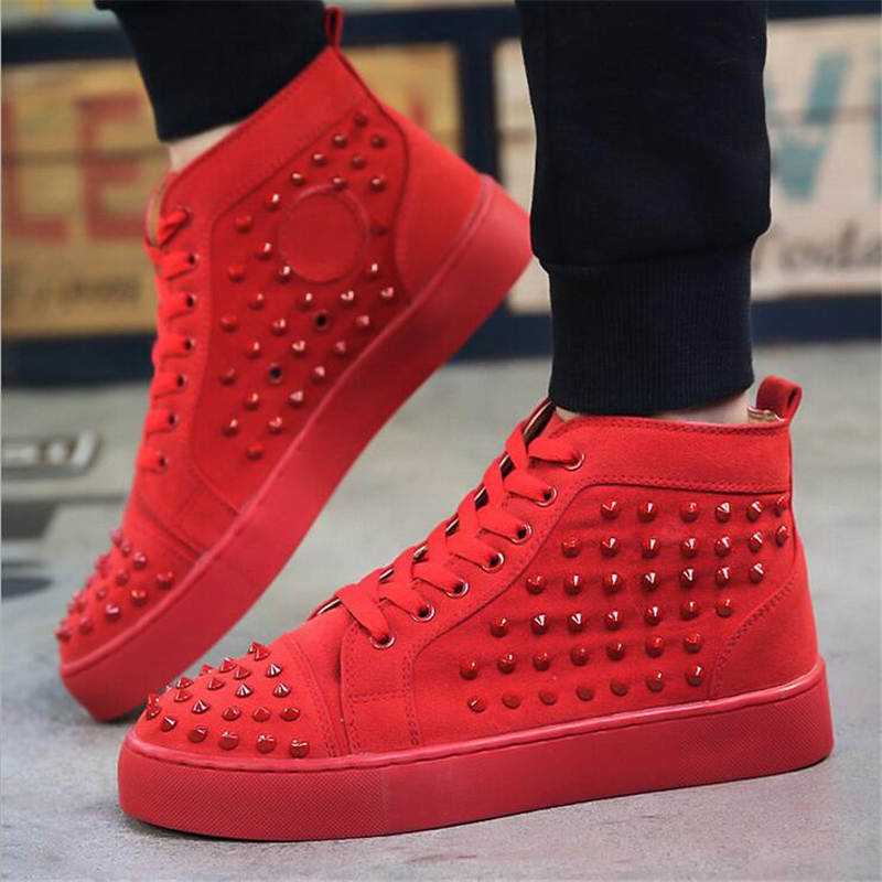 2016 New Spring/Autumn Men Casual Shoes Breathable High-top Lace-up suede leather Shoes Fashion winter rivet Men Flats shoes  spring autumn new men driving shoes fashion breathable leather casual shoes korean version lace up rubber men shoes z180