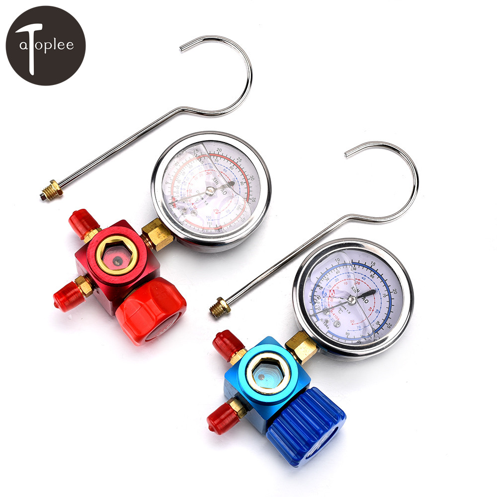 R410A R22 R134A Refrigerant High/Low Pressure Gauge 1/4 Auto/Car Air-conditioning Refrigerant Pressure Gauge Tool