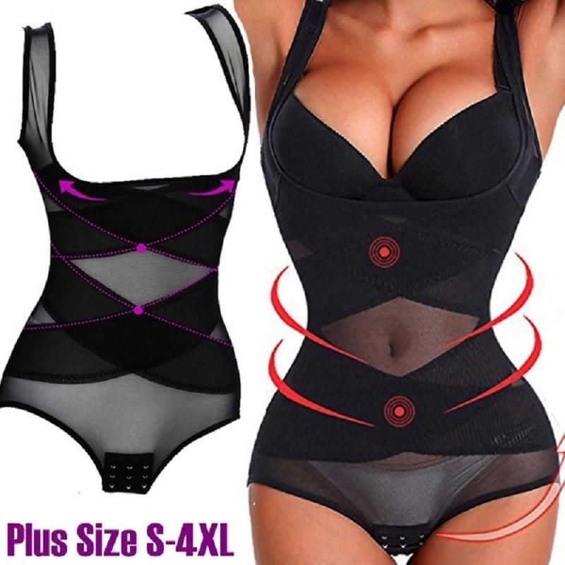 Plus size shaper slimming woman body underwear corset slimming pants shapewear waist trainer corrective underwear tummy Control in Bodysuits from Underwear Sleepwears