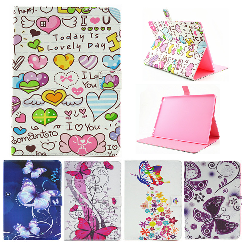 For Ipad Pro 12.9'' Butterfly Flower Flip PU Leather Case For Apple iPad Pro 12.9 Case Stand Protector Skin Tablet Cover Fundas ultra thin smart flip pu leather cover for lenovo tab 2 a10 30 70f x30f x30m 10 1 tablet case screen protector stylus pen