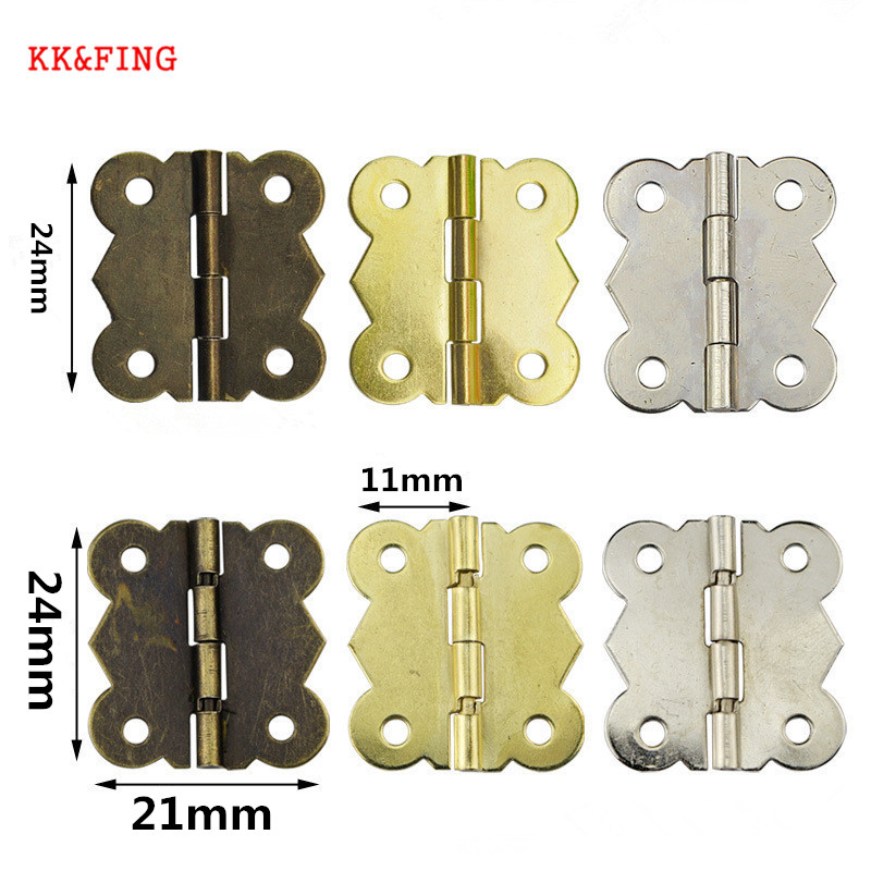 KK&FING 20pcs 24 x21mm Vintage Jewellery Box Hinge Mini Bronze Decoration Door Hinges For Wooden Cabinet Door Furniture Hardware