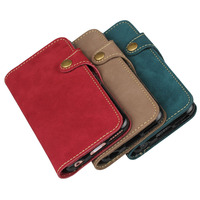 Natural Real Genuine Leather Wallet Case For Apple IPhone 6 6S Plus Phone Sleeve Bag Retro