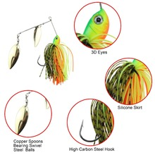 Runature Buzzbait Spinner Fishing Lure Bait 3D Fishing Eyes Double Reflective Steel Spoon Sequins 18g 1pc Jigging Lure Pesca Jig