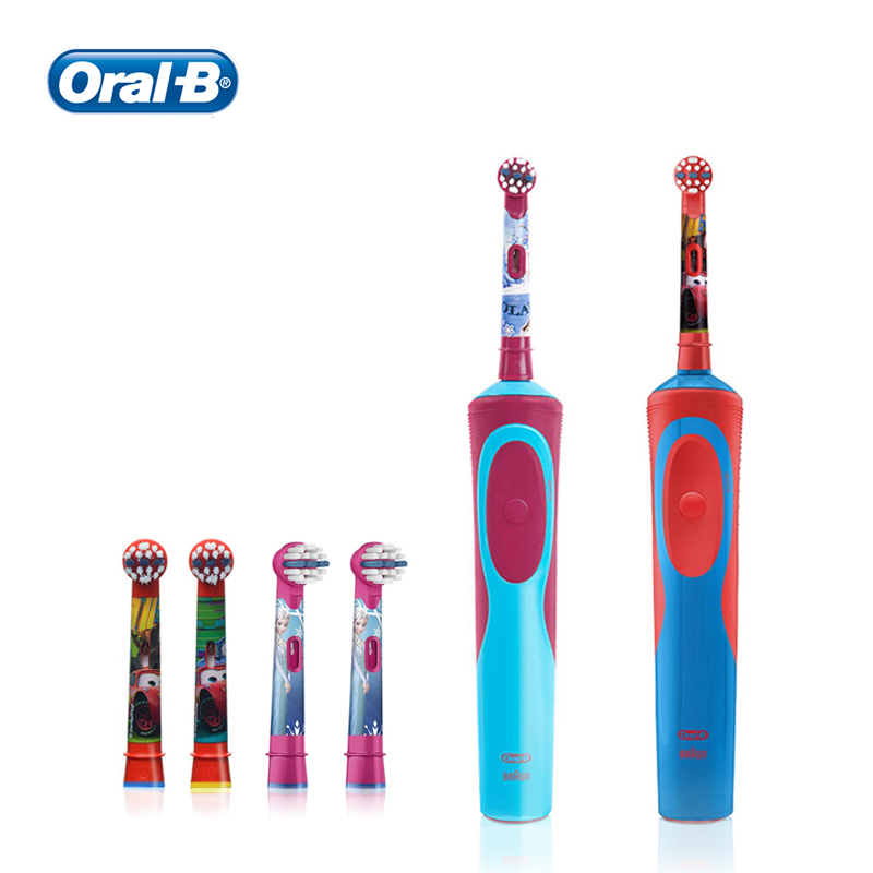 Oral B Kids Electric Toothbrush + Replacement Brush Heads Reminder Soft Gum Care Inductive Charging Toothbrushes for Children image