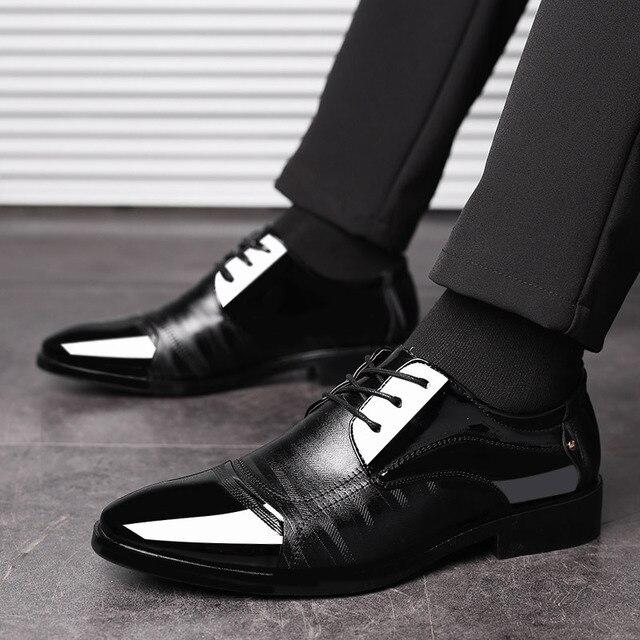 Leather Shoes Pointed Men Ballroom Dance Bureau Dress Shoes Man Baita Wedding  Shoes Latin Prom Sports Dance Shoes Large Size-in Dance shoes from Sports  ... cdd8264b20c9