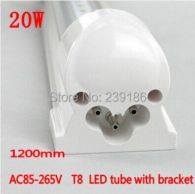 4PCS/Lot LED Tube T8 integration,1200mm 20W AC85-265V 4ft lamp,2835SMD LED Light Tube with bracket fluorescent tube t8 led tube 1200mm light 18w120cm 4ft 1 2m g13 with holder fixture high power smd2835 fluorescent replacement 85 265v