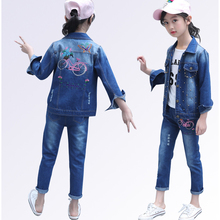 Teen Boys Girl Clothes Set Denim Jacket + Jeans Childrens Clothing Outfit Spring Autumn Kids Costume for Girls 6-14 Y