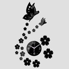 2016 New sale Wall Acrylic Wall Sticker Stickers Home Decor Modern Large 3d Clock Fashion sale Butterfly Mirror Free Shipping