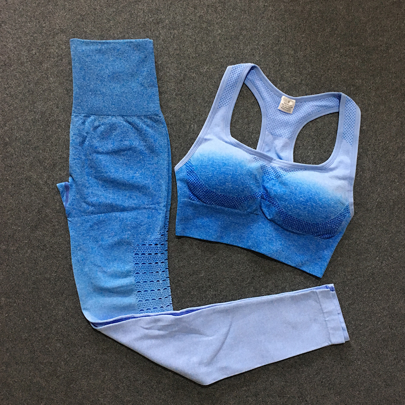 ombre gym set 2 piece workout women yoga sets woman sportswear clothes for clothing blue leggings