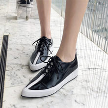 Купить с кэшбэком NAYIDUYUN    Punk Oxfords Shoes Women Lace Up Cow Leather Wedge Platform Pointed Toe Party Pumps Casual Shoes Shallow Sneakers
