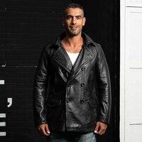 HARLEY DAMSON черный для мужчин длинные пояса из натуральной кожи повседневное кожаная куртка двубортный плюс размеры 5XL толстые теплые русски