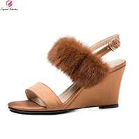 Original Intention 2018 Super Sexy Women Sandals Fur Open Toe Wedges High Quality Black Brown Shoes