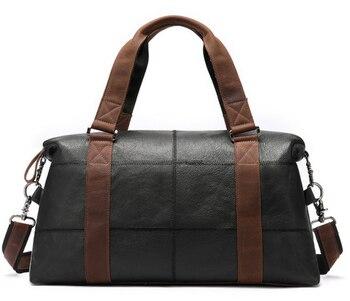 Casual Men Genuine Leather Travel Chain Bag High Capacity Cowhide Shoulder Crossbody Luggage Bag Weekend Duffle Handbag D419 - DISCOUNT ITEM  23 OFF Luggage & Bags