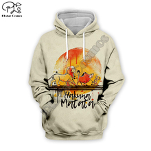 Men Women Lion King Art paintings 3D Hoodies Hakuna Matata letter Print Hooded Autumn long sleeve Sweatshirts Cartoon pullover
