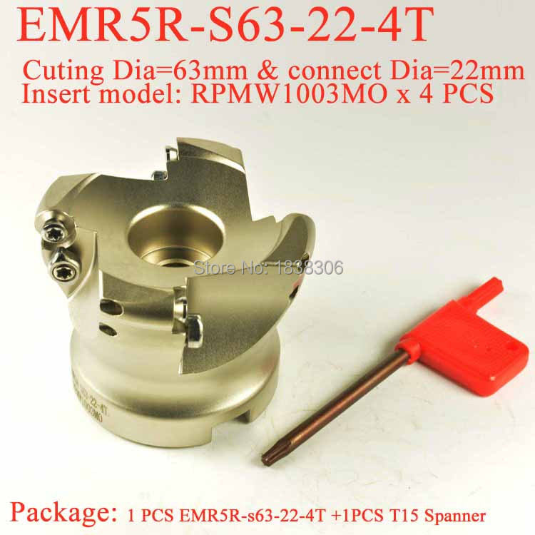 miller End milling Face milling tool 1pcs EMR5R-s63-22-4T Round dowel Face Mill Head,CNC Milling Cutter, For RPMW1003MO