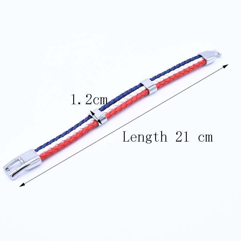 Wholesale Length 21cm 3 Strands Rope Braided Leather Chain & Link Bracelet Men Wristband National Flags Color Sports Bracelets 2