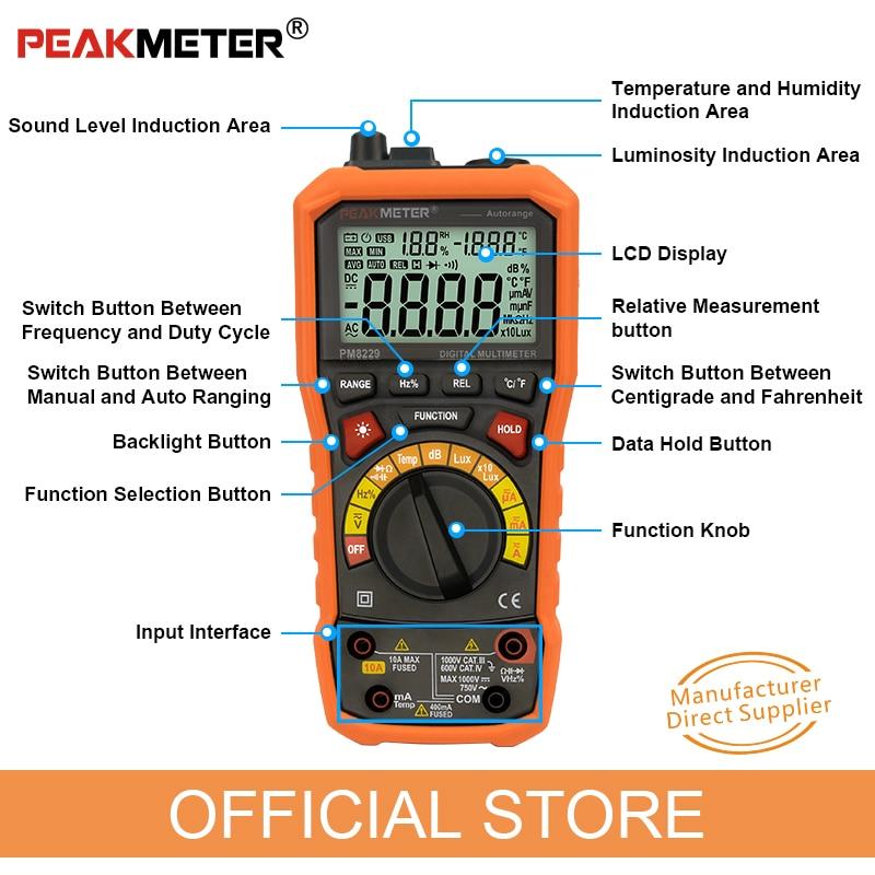 PEAKMETER PM8229 Multimetro digitale automatico 5 in 1 con Lux - Strumenti di misura - Fotografia 4