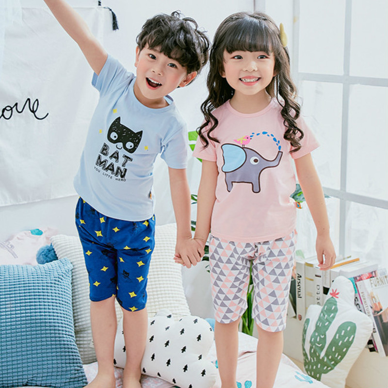Baby kids   Pajamas     Set   summer children Short Sleeve cotton sleepwear Boys Cartoon pyjamas girls cute home clothing boys nightwear