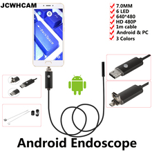 JCWHCAM 7MM USB Endoscope Android Camera 1M Tube Pipe Waterproof Phone PC USB Endoskop Inspection Borescope OTG Mini Camera(China)