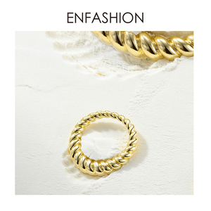 Image 3 - Enfashion Pure Form Twist Rings For Women Gifts Gold Color Brass Wave Men Ring Fashion Jewelry Bague Anillo Jewellery RF184005