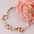 Simple Pink Crystal Bracelets Gold Plated Chain Bracelet for Women Pulseiras Femininas Pulseras Mujer Fashion OL Hand Jewelry