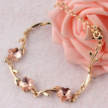Simple Pink Crystal Bracelets Gold Plated Chain Bracelet for Women Pulseiras Femininas Pulseras Mujer Fashion OL Hand Jewelry red bean pink colour above knee mini dress new women s satin bridesmaid dress sisters wedding banquet back of bandage