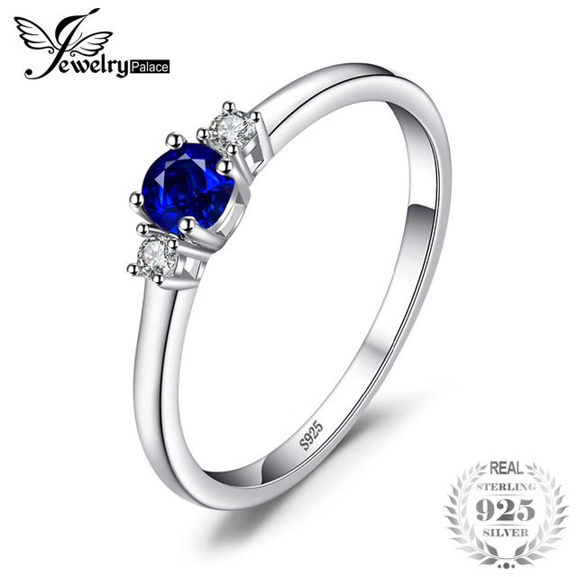 JewelryPalace Classic 0.5ct Round Created Sapphire 3 Stones Engagement Promise R