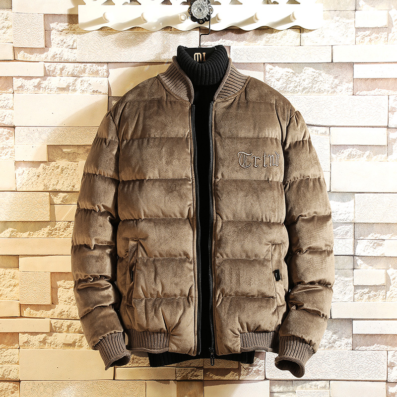 2018 winter new gold velvet padded jacket, men's slim short jacket, winter thick warm personality stand collar jacket S-4XL