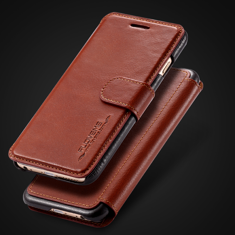 newest f1514 22eb9 Floveme Original Real Genuine Leather Case For Apple iPhone 6 / 6S / iPhone  6 Plus/6S Plus Top Quality Logo Hole Vintage Wallet-in Phone Bumper from ...