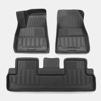 LUCKEASY TPE Custom Fit All-Weather Floor Mats for Tesla Model 3 2017 2018 2019 All-Weather Waterproof and Wearable