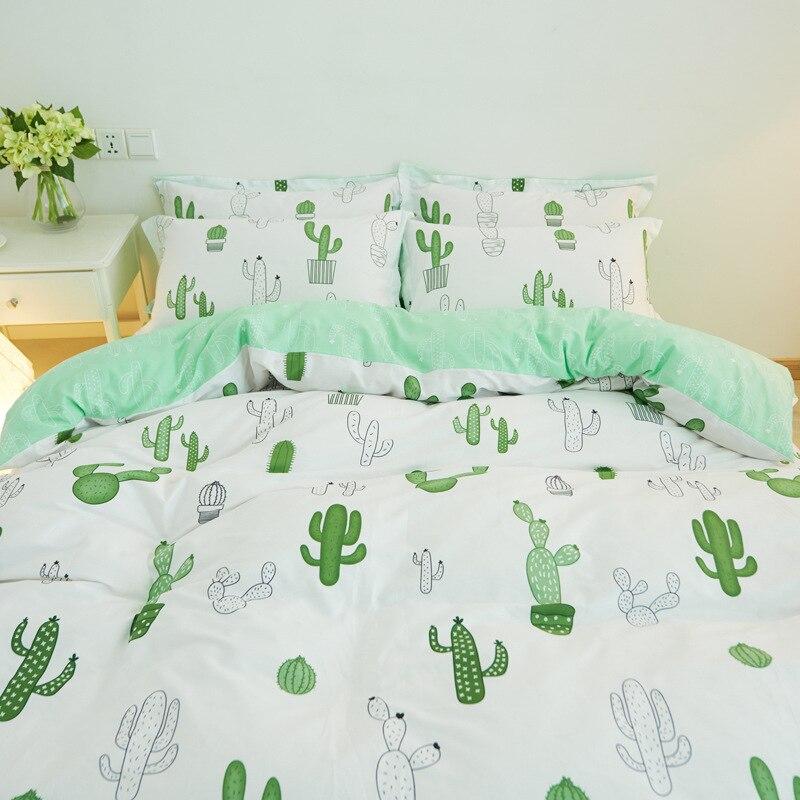 Simple Style Cactus Crown Penguin Bedding Set Cotton 4pcs