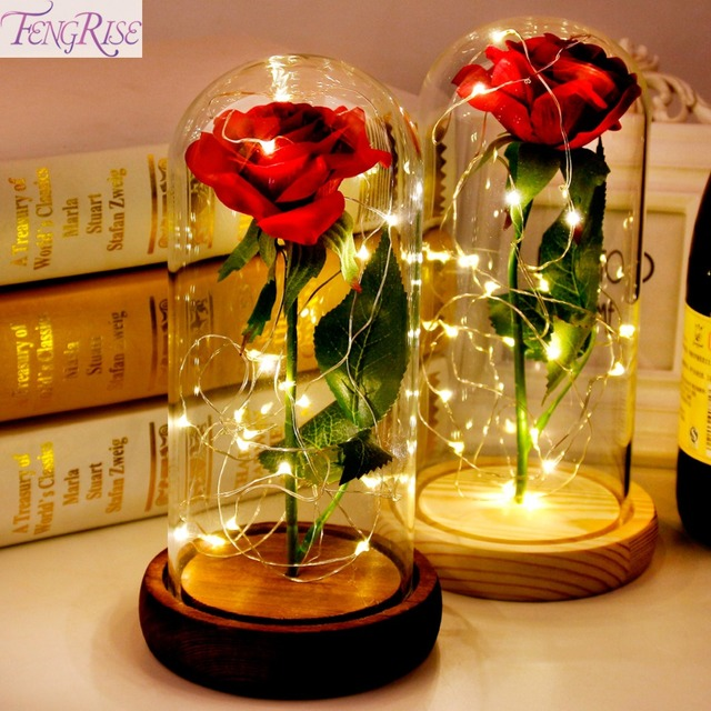 Fengrise Forever Love Valentine Gift Red Rose Flowers Romantic Light