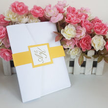 White pearl laser cut invitation cards with 4 printing sheets and belly band(China)