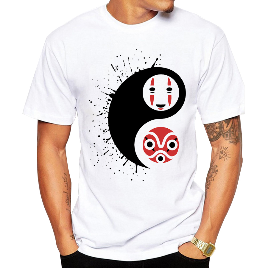2017 newest fashion ying yang design printed t shirt for Gym printed t shirts