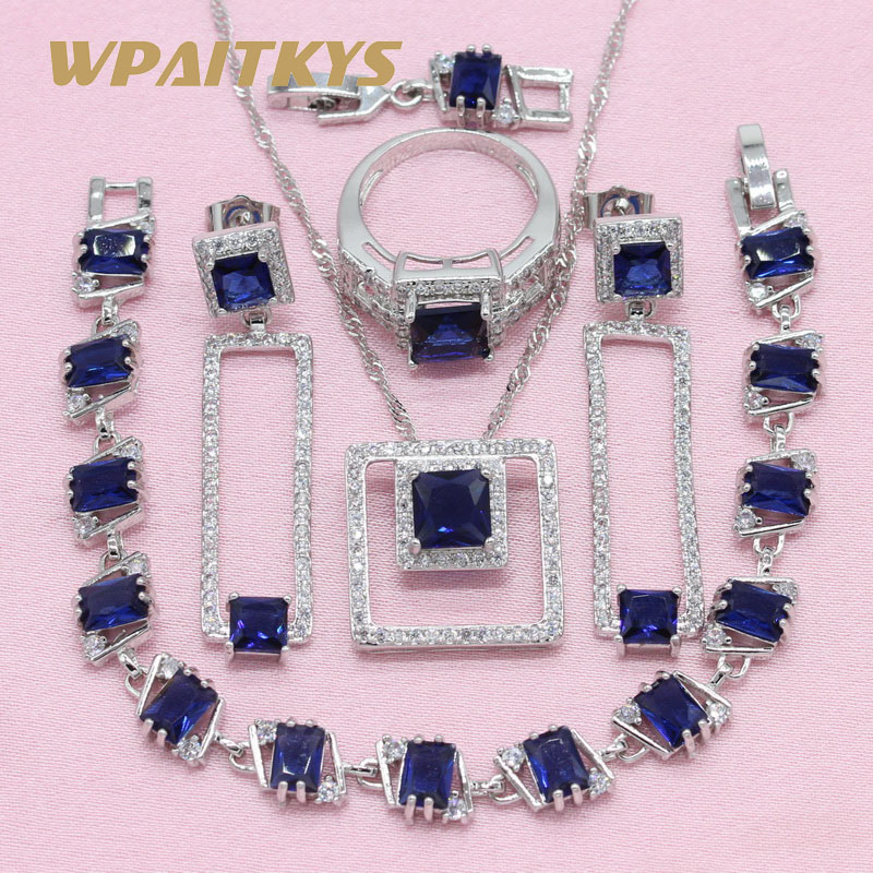 Exquisite Royal Blue Cubic Zirconia 925 Silver Jewelry Sets For Women Pendant Necklace Ring Bracelet Earring Free Gift Box new women s gift true really earring bracelet necklace ring mnjh