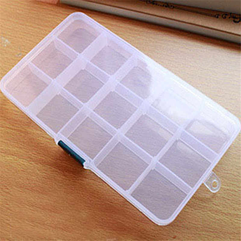 ISHOWTIENDA Storage Case Box Holder Container Pills Jewelry Nail Art Tips 15 Grids Transparent Rectangle Case Organizer Boxes