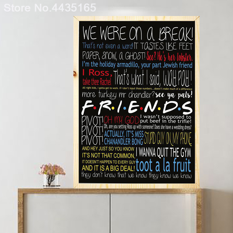 Friends tv show poster print infographic quotes logos posters and prints canvas painting home decor friends poster tv show classic quote wall art picture malvernweather Image collections