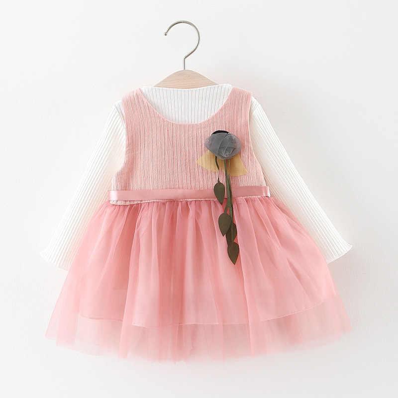 Kore Bebek Kız Elbise Parti Ve Düğün Yenidoğan Pembe Doğum Günü Bebek Kız Elbise 0-3 Yaş O-boyun Yaka Çiçek bebek Kız Elbise