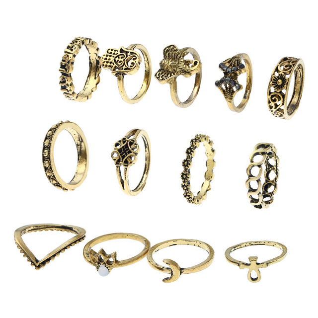 13Pcs/Set Punk Vintage Ring Sets Moon Fatima Hamsa Hand Elephant Midi Finger Rings Charms Jewelry Knuckle Ring For Women Gifts