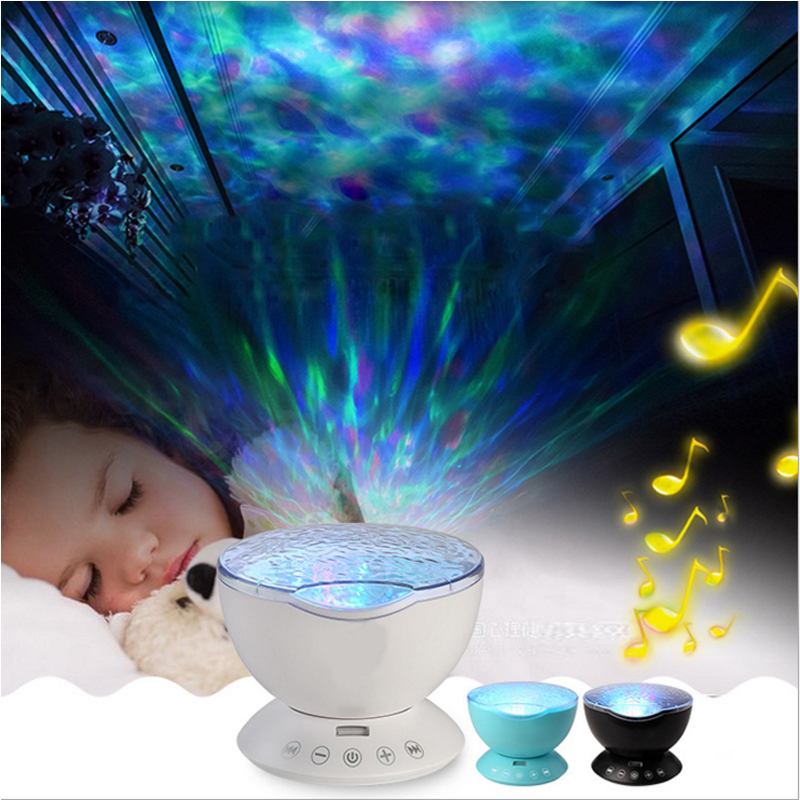 Led Night Light Bedside Lamp Ocean Wave Projector Music Player Night Light 7 Colors Changing Starry Sky Remote Control Lamp