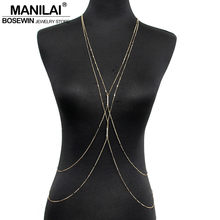MANILAI Fashion PC Gold Color Chain Necklaces Women Simple Jewelry Double Rhinestones Inlay Beach Necklace Sexy Accessories(China)