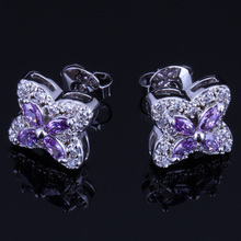 Rare Star Purple Cubic Zirconia White CZ 925 Sterling Silver Stud Earrings For Women V0181 valuable round green cubic zirconia white cz 925 sterling silver stud earrings for women v0195