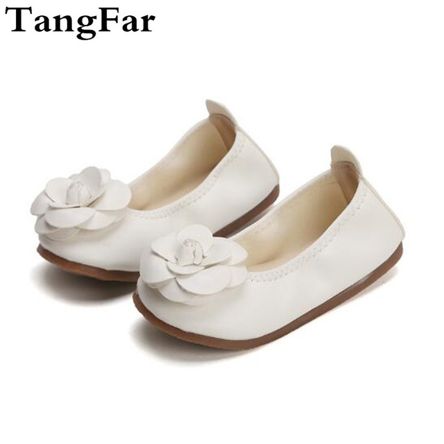 Flower Shoes For Girls Leather White Slip On Dance Shoes Toddler Pink Soft  Moccasins Princess Baby Low Heel Loafers a228ae1e87e5